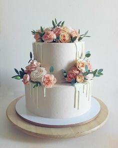 89 wedding cake ideas and inspirations – bestlooks cake decorating recipes kuchen kindergeburtstag cakes ideas Floral Wedding Cakes, Elegant Wedding Cakes, Beautiful Wedding Cakes, Wedding Cake Designs, Beautiful Cakes, Amazing Cakes, Simple Elegant Cakes, Wedding Rustic, Cake Wedding