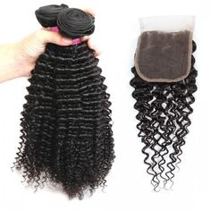 One More Malaysian Curly Virgin Human Hair With Closure  Malaysian Kinky Curly Wave Hair 3 Bundles With 4*4 Lace Closure,Double Weft, Softness, More Thicker Health End. No Shedding Tangle Free.
