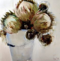 Proteas in Bucket by Nicole Pletts Protea Art, Pattern Art, Art Patterns, South African Artists, Contemporary Abstract Art, Online Art Gallery, Trees To Plant, Flower Power, Flower Paintings