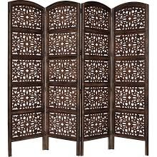 Cotton Craft Rajasthan Antique Brown 4 Panel Handcrafted Wood Room Divider Screen 72x80, Intr