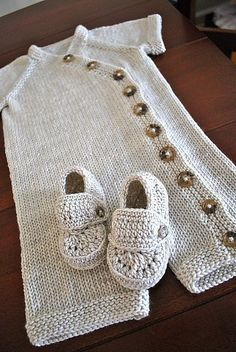 Gift Wrap Romper & Sweater by Carina Spencer. an inexpensive Knitting pattern that works up so beautifully. And would be ready for any occasion. Knit in different colors or with stripping yarn for an extra cute knit. Worth every penny.