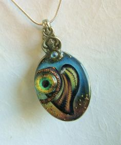 Steampunk / Spoonpunk Necklace with Glass Eye & Patchwork Heart