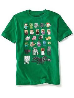 NWT OLD NAVY Boys Minecraft Characters Creeper Tee T-Shirt Tees Shirt Top NEW…