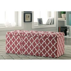 Furniture of America Zaira I Red Storage Ottoman CM-BN6033RD