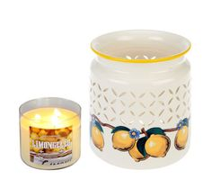 Bath & Body Works Ceramic Lemon Luminary w/14.5oz Triple Wick Candle