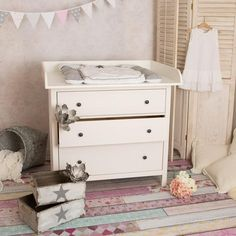 Changer, changing table top in white for all IKEA Hemnes drawers in Ikea Hemnes Drawers, Ikea Ivar Cabinet, Ikea Chest Of Drawers, Modern Changing Tables, Changing Table Top, Changing Unit, Craft Shelves, Ikea Kura Bed, Pc Table