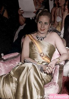 """Eva """"Evita"""" Peron, wife of Juan Peron, President of Argentina. Photographed in October wearing Christian Dior. President Of Argentina, Divas, Theatre Costumes, Perfect Woman, Powerful Women, Queen, Beauty Women, Actresses, History"""