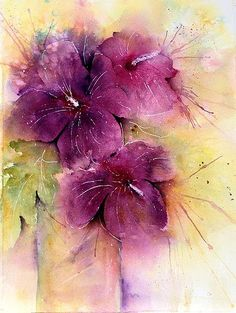 """Hibiscus - and a Thank YOU! , a photo by linfrye  on Flickr. 10 1/4"""" x 14"""" Watercolor Arches 140#CP I painted this while visiting Doris...bo..."""
