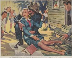 """Cowboy lovin! Tex looks like he's taking advantage of the moment and getting himself a mighty fine grope of Juliet the teacher. (Artist George Garland """"I Love Teacher"""")"""