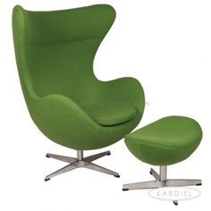 Egg Chair & Ottoman, Apple Green Bouclé Cashmere Wool |
