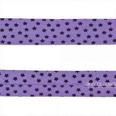 Biais étoiles 20 mm - Violet Violet, Fabric, Fabric Strips, Fabrics, Tejido, Tela, Cloths, Tejidos