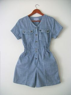 Misses Vintage Romper Blue  Antique BlueCotton Shorts - pinned by pin4etsy.com