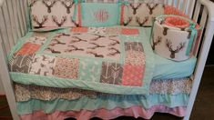 Woodland 1 to 3 Piece baby girl nursery crib bedding Quilt, bumper, and bed skirt, Buck, deer, fawn, head silhouette, Arrow, Teepee, Aztec Any color theme available
