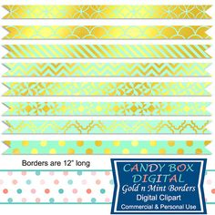 Gold and Mint Ribbon Border Clipart by CandyBoxDigital. Great clip art for digital scrapbooks and journals, blogs and websites. At our Etsy shop.