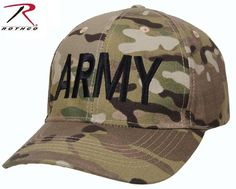 LOW-PROFILE MULTICAM 'ARMY' BASEBALL HAT Fully adjustable Hook & Loop closure in back Low Profile Baseball cap design Durable 6 panel construction Embroider