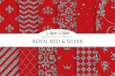 Royal Red and Silver Digital Paper Graphics Royal Red and Silver Digital Paper. Scrapbook Backgrounds Prom patterns for Commercial Use. Silver G by Avenie Digital
