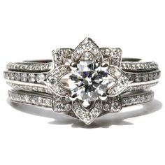 Wedding SET - UNIQUE Flower Rose Diamond Engagement Ring and Wedding band set - 2.55 carats - 14K - fL01-S ($6,250) found on Polyvore