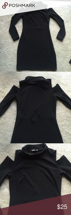 Express Black fitted dress. Worn once Fitted Black Dress. 93% Polyester/ 6% Spandex 33inches long. Express Dresses
