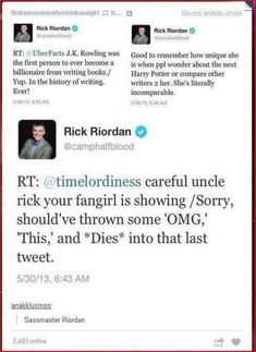 Rick Riordan is seriously my favorite person ever<<< careful uncle rick, your sass is showing, oh who am i kidding it always is and i love it😂 Percy Jackson Memes, Percy Jackson Books, Percy Jackson Fandom, Percabeth, Solangelo, Leo Valdez, All The Bright Places, Rick Y, Rick Riordan Books