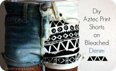 Pearmama: Restyle: DIY Aztec-print shorts on bleached denim