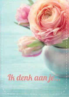Biri Publications - ik denk aan je roze pioenroos kaart (Voorzijde)