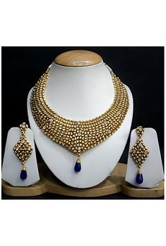 Blue, White and Golden Color Stone Studded Necklace Set @ $105.01