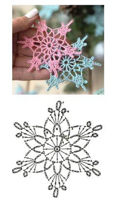 Crochet Star Patterns, Crochet Snowflake Pattern, Crochet Earrings Pattern, Crochet Lace Edging, Crochet Flower Tutorial, Christmas Crochet Patterns, Holiday Crochet, Crochet Snowflakes, Crochet Diagram