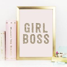 Girl Boss Gold Decor Gold Glitter Girl Boss Print Boss Lady Office Decor Desk Accessories Gift For Her Inspirational QuotePrintable Glitter Girl, Gold Glitter, Glitter Nikes, Home Decor Accessories, Decorative Accessories, Gold Desk Accessories, Pastel Room, Pastel Colors, Pastel Pink