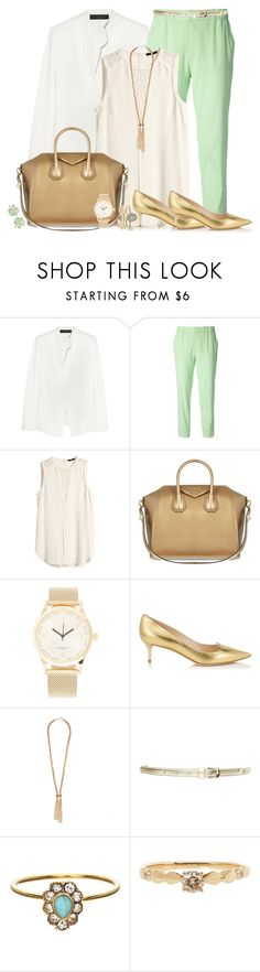 """""""Office Chic with mint pants"""" by clampigirl ❤ liked on Polyvore featuring Donna Karan, Roberto Cavalli, H&M, Givenchy, Triwa, Jimmy Choo, Forever 21, Orelia, Anna Sheffield and Kendra Scott"""