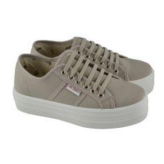 Zapatillas deportivas con cordones y lona sobre plataforma seguida de goma  de 4cm. de e8089b2fcb56