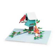 Cardinal Birdhouse Holiday Cards - Set of 8 in color Pop Up Christmas Cards, Holiday Cards, 3d Cards, Paper Magic, Bird Houses, Trinidad And Tobago, Envelopes, Moma, Foxes