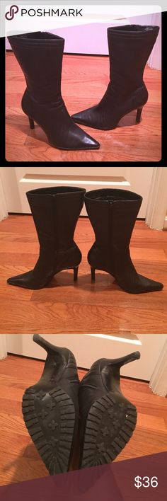 Nine West Leather Boots Size 9.5M Leather Mid Calf Boots with a side zipper. In Great Condition. These boots have a good grip on the sole and are very comfortable! Open to offers :) Nine West Shoes Heeled Boots