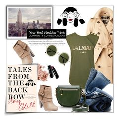 """Untitled #2047"" by deeyanago ❤ liked on Polyvore featuring Burberry, Bobbi Brown Cosmetics, Wet Seal, Balmain, H&M, The Row, StreetStyle and talesfromthebackrow"