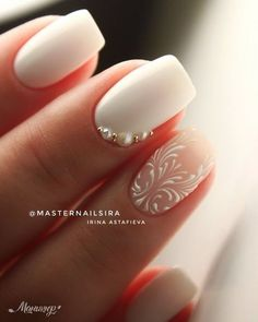 Nail art is a very popular trend these days and every woman you meet seems to have beautiful nails. It used to be that women would just go get a manicure or pedicure to get their nails trimmed and shaped with just a few coats of plain nail polish. Bride Nails, Wedding Nails For Bride, Wedding Manicure, Wedding Nails Art, Weding Nails, Bridal Nail Art, Wedding Hair, Winter Wedding Nails, Simple Wedding Nails