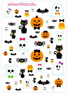 Halloween Pals Stickers for your Planner, scrapbook, calendar, etc. by aHeartFeltLife on Etsy