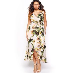 AVAILABLE ONLINE ONLY. Flowy and feminine, featuring ruffles and a close-up flower print, here is a plus size dress that can be worn for any occation. Featuring a flattering crossover cut with a self-tie sash, this dress is perfect for shaped, curvy, and slim silhouettes. 54 inch length, unlined, Sangria.