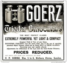 Collectibles Humor 1903 Ad Print Goerz Trieder Binocular Construction Section Up-To-Date Styling