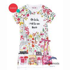 59b73ce00 Comprar Vestido de niña BOBOLI algodón lycra estampado tiendas y flores