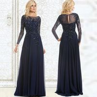 Navy Blue Evening Dress Mother Of The Bride Dress Sequined Applique Chiffon Long Evening Gown Long Sleeves Cheap Formal Dresses