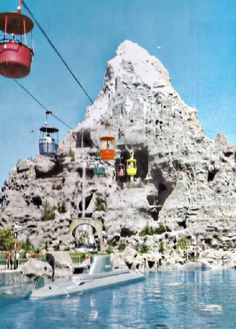 Vintage shot of Disneyland's Matterhorn, Skyway and Submarine Lagoon, circa 1960