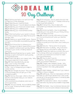 wellness challenge 30 Day Ideal Me Challenge - A FREE 30 day challenge including videos and printables to help you create your ideal self and help you make your goals reality. Happiness Challenge, Love Challenge, Health Challenge, Thigh Challenge, Plank Challenge, 30 Day Challenge Journal, 30 Day Writing Challenge, Monthly Challenge, Productivity Challenge