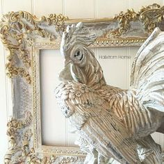 This large french style rooster is an original art piece hand painted with many…
