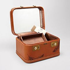 vintage leather train case by Fossil