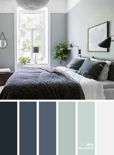 25 Best Color Schemes for Your Bedroom - sage and dark blue bedroom, colour palette bedroom color ideas , sage and dark blue, navy blue and sage