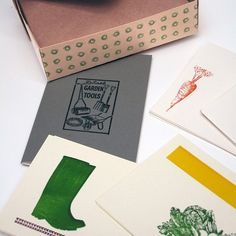 Wellies, lettuce & carrots. Our gardener's stationery...