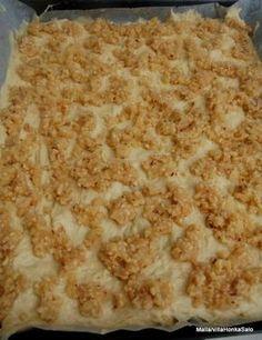 PELTIPULLA 2,5 dl vettä 1 pss kuivahiivaa 1 muna 1 dl sokeria 1 tl suolaa 7 dl vehenäjauhoja 150g marg. Valamista kuorrute: Sekoita kattilassa: 150g voita 2,5 dl sokeria 3/4 dl vehenäjauhoja 1 pss hasselpähkinärouhetta(80g) Paista pullaa 225 asteessa 15-20min. Wine Recipes, Baking Recipes, Snack Recipes, Snacks, Finnish Recipes, Sweet Pastries, Sweet And Salty, Diy Food, My Favorite Food