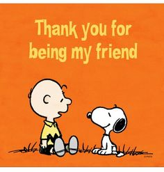 Thank you for being my friend. Snoopy and Charlie Brown.
