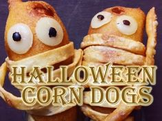 Too-Cute-To-Eat Corn Dog Mummies. These were so fun to make and perfect for Halloween.   #corndogs #halloween #halloweenfood #uniquecorndogs