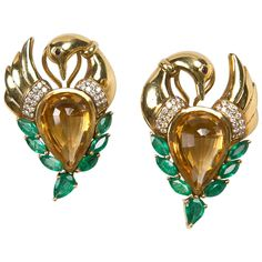 Citrine, Diamond, Emerald and Gold Swan Earrings Presented by Carol Marks
