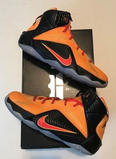 3079b6811695 NIKE LEBRON XII 12 BLACK LASER ORANGE GRADE SCHOOL 685181-830 Boy s Size 5Y